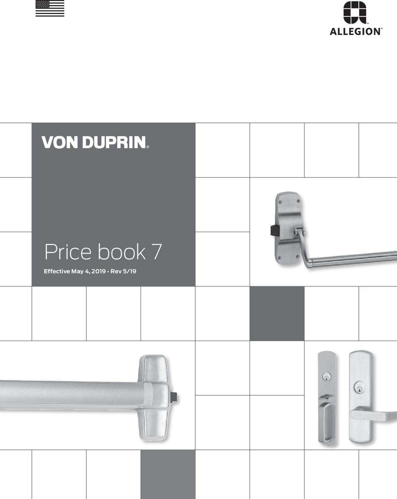 Von Duprin 2019 Price Book (as Of 5/4/19) PB7 on