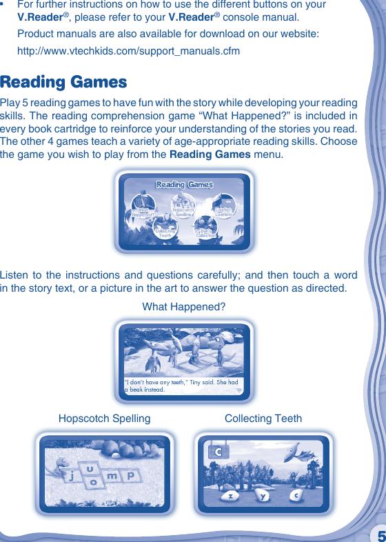 Vtech V Reader Cartridge Dinosaur Train Owners Manual