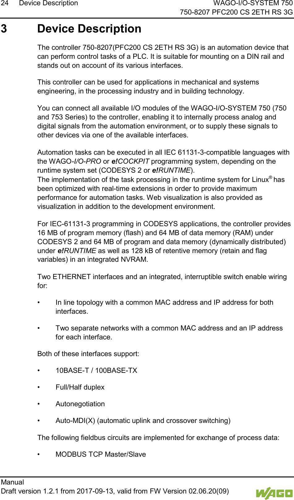 WAGO Kontakttechnik and KG PFC200 3G PLC Controller User Manual