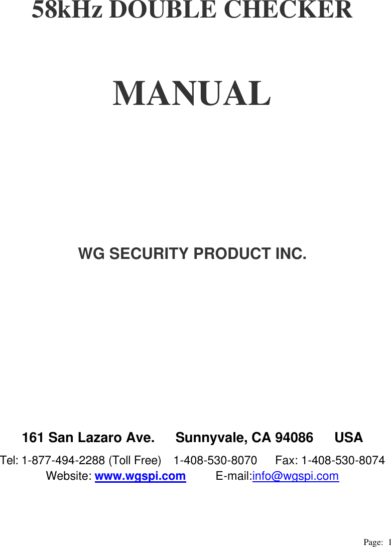 wg security wgdc58 1 58khz tag and label checker user manual manual rh usermanual wiki Instruction Manual Instruction Manual Book