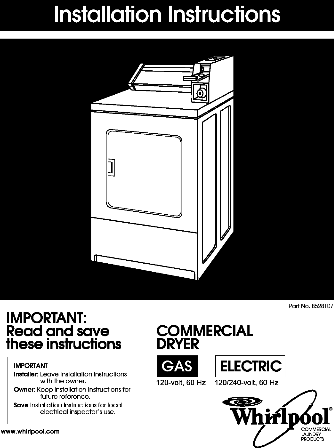 Whirlpool Commercial Dryer Manual L0412125 120 240 Volt Wiring Diagram