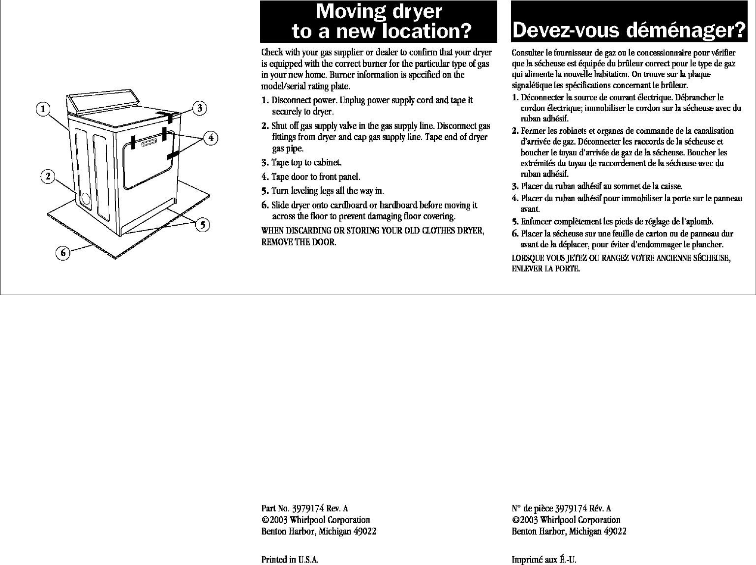 WHIRLPOOL Residential Dryer Manual L0412159