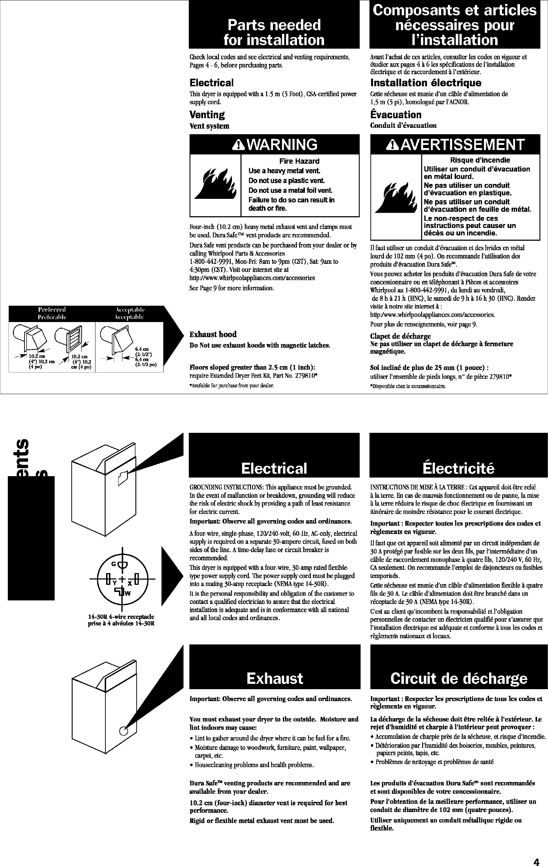 WHIRLPOOL Residential Dryer Manual L0412160