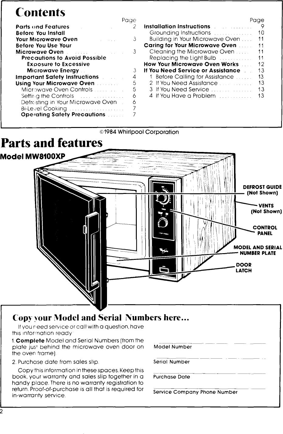 WHIRLPOOL Countertop Microwave Manual L0805113