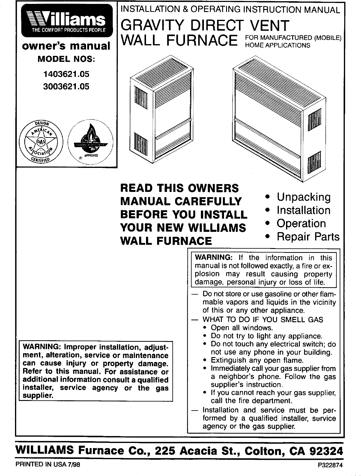Williams Thermostat P322016 Wall Furnace Wiring Diagram Schematic Top Vent Diagrams Manual L0408106 Baseboard Heater