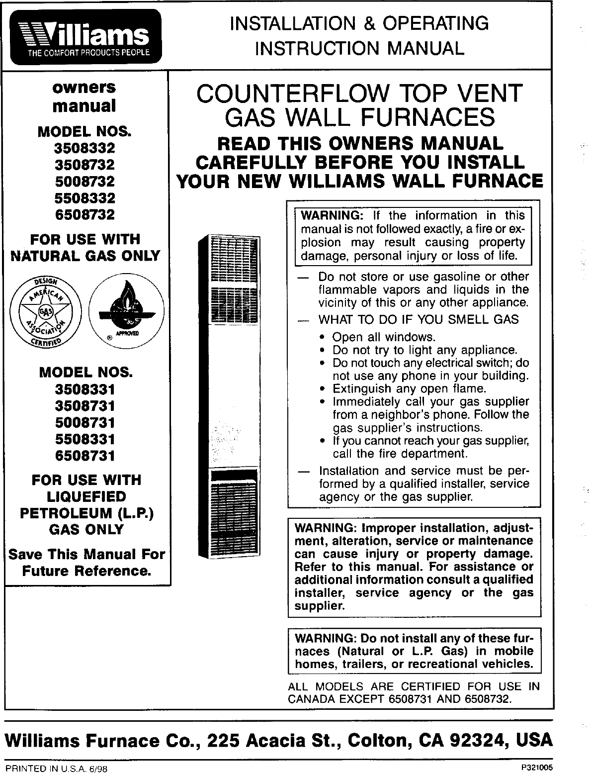Williams Wall Heater Instructions The Best 2018 Well Tec E116997 Wiring Diagram 3003821 30 000 Btu Direct Vent Furnace 73 Efficiency
