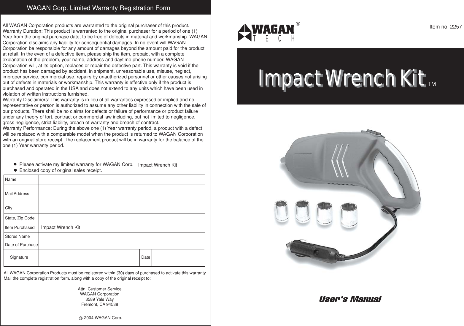 Page 1 of 4 - Wagan Wagan-2257-Users-Manual- Your 350 Watt Power Inverter Converts 12-volt Vehicle Battery Into 115 Volts Of AC  Wagan-2257-users-manual