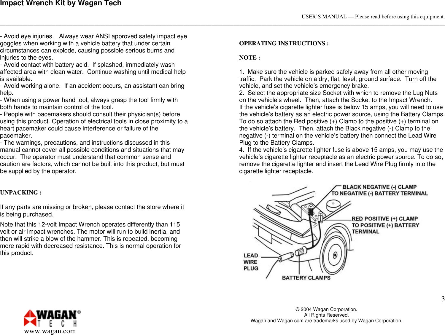 Page 3 of 4 - Wagan Wagan-2257-Users-Manual- Your 350 Watt Power Inverter Converts 12-volt Vehicle Battery Into 115 Volts Of AC  Wagan-2257-users-manual