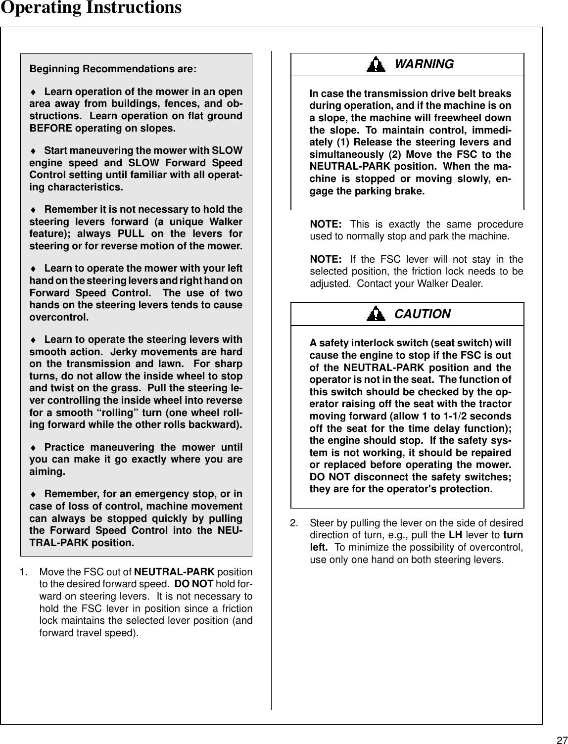 Walker Mbssd 27 Hp Users Manual