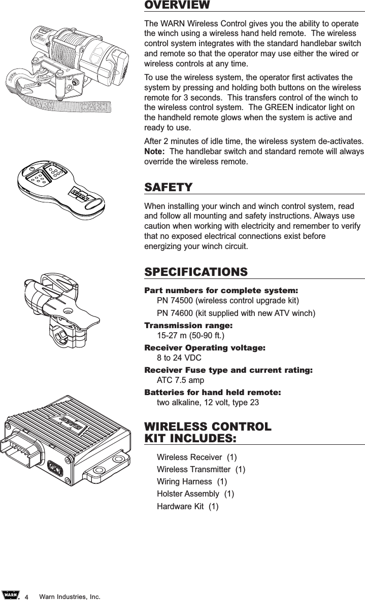Warn Wtx001 43392mhz Remote Control Transmitter User Manual 74527a0 Wireless Diagram Industries Inc4overviewthe Gives You The Ability To Operatethe Winch