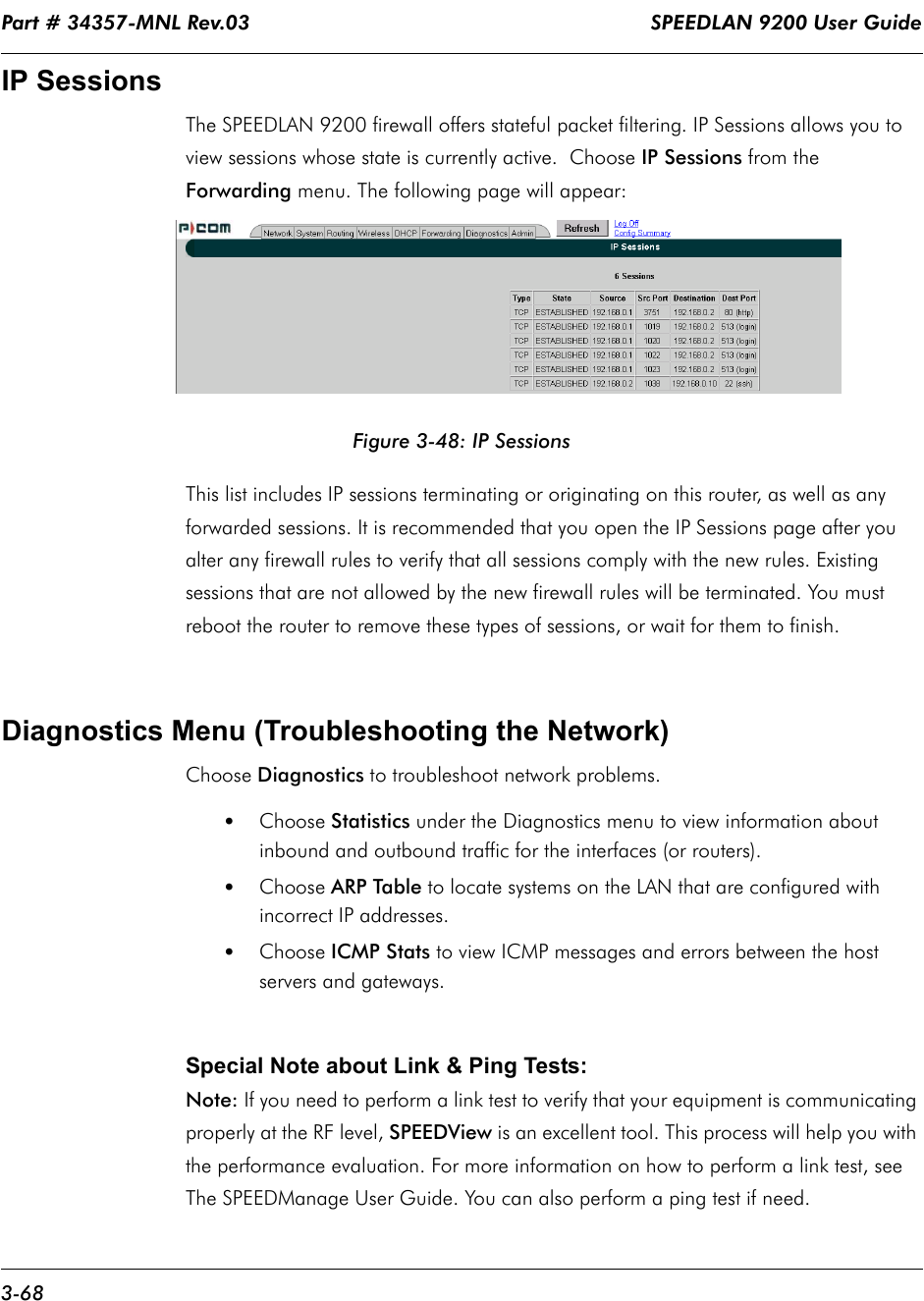 Part # 34357-MNL Rev.03                                                                   SPEEDLAN 9200 User Guide 3-68IP SessionsThe SPEEDLAN 9200 firewall offers stateful packet filtering. IP Sessions allows you to view sessions whose state is currently active.  Choose IP Sessions from the Forwarding menu. The following page will appear:Figure 3-48: IP SessionsThis list includes IP sessions terminating or originating on this router, as well as any forwarded sessions. It is recommended that you open the IP Sessions page after you alter any firewall rules to verify that all sessions comply with the new rules. Existing sessions that are not allowed by the new firewall rules will be terminated. You must reboot the router to remove these types of sessions, or wait for them to finish. Diagnostics Menu (Troubleshooting the Network)Choose Diagnostics to troubleshoot network problems. •Choose Statistics under the Diagnostics menu to view information about inbound and outbound traffic for the interfaces (or routers). •Choose ARP Table to locate systems on the LAN that are configured with incorrect IP addresses.•Choose ICMP Stats to view ICMP messages and errors between the host servers and gateways. Special Note about Link & Ping Tests:Note: If you need to perform a link test to verify that your equipment is communicating properly at the RF level, SPEEDView is an excellent tool. This process will help you with the performance evaluation. For more information on how to perform a link test, see The SPEEDManage User Guide. You can also perform a ping test if need.