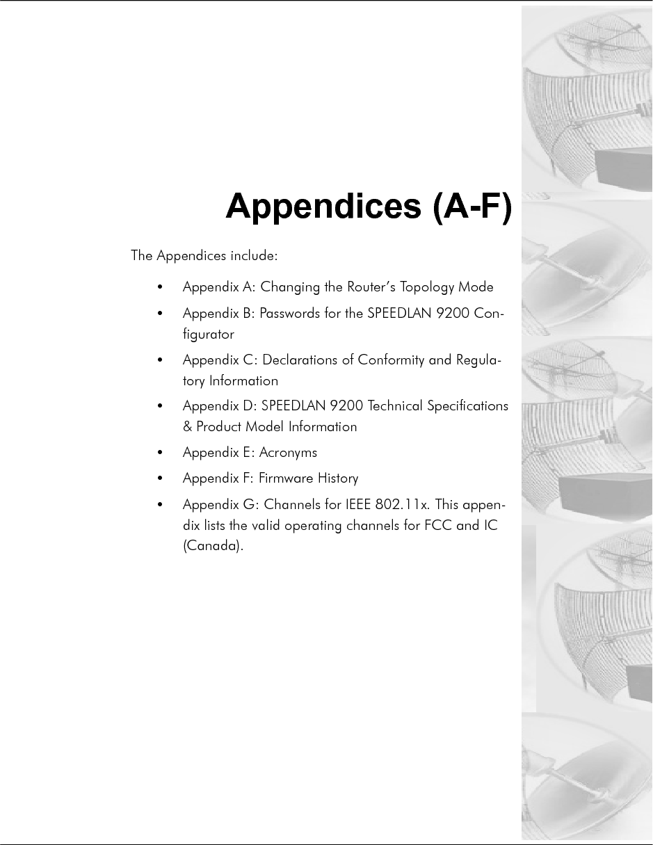 SPEEDLAN 8100 & 8200 Installation and Operation User Guide  -2 Appendices (A-F)