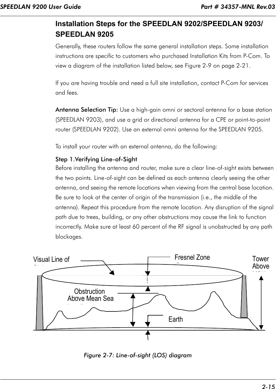 SPEEDLAN 9200 User Guide                                                                   Part # 34357-MNL Rev.03      2-15                                                                                                                                                              Installation Steps for the SPEEDLAN 9202/SPEEDLAN 9203/SPEEDLAN 9205Generally, these routers follow the same general installation steps. Some installation instructions are specific to customers who purchased Installation Kits from P-Com. To view a diagram of the installation listed below, see Figure 2-9 on page 2-21.  If you are having trouble and need a full site installation, contact P-Com for services and fees. Antenna Selection Tip: Use a high-gain omni or sectoral antenna for a base station (SPEEDLAN 9203), and use a grid or directional antenna for a CPE or point-to-point router (SPEEDLAN 9202). Use an external omni antenna for the SPEEDLAN 9205. To install your router with an external antenna, do the following: Step 1.Verifying Line-of-Sight Before installing the antenna and router, make sure a clear line-of-sight exists between the two points. Line-of-sight can be defined as each antenna clearly seeing the other antenna, and seeing the remote locations when viewing from the central base location. Be sure to look at the center of origin of the transmission (i.e., the middle of the antenna). Repeat this procedure from the remote location. Any disruption of the signal path due to trees, building, or any other obstructions may cause the link to function incorrectly. Make sure at least 60 percent of the RF signal is unobstructed by any path blockages. Figure 2-7: Line-of-sight (LOS) diagramVisual Line of Si hFresnel Zone diObstruction HihAbove Mean Sea Ll)Earth Tower HihAbove MSL)