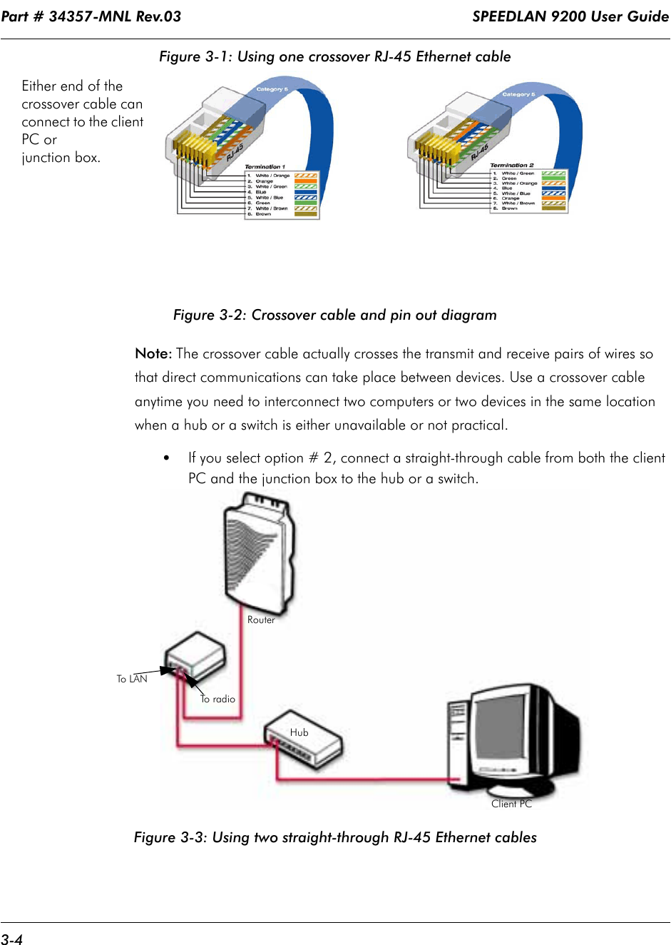 Part # 34357-MNL Rev.03                                                                   SPEEDLAN 9200 User Guide 3-4Figure 3-1: Using one crossover RJ-45 Ethernet cableFigure 3-2: Crossover cable and pin out diagramNote: The crossover cable actually crosses the transmit and receive pairs of wires so that direct communications can take place between devices. Use a crossover cable anytime you need to interconnect two computers or two devices in the same location when a hub or a switch is either unavailable or not practical.•If you select option # 2, connect a straight-through cable from both the client PC and the junction box to the hub or a switch.Figure 3-3: Using two straight-through RJ-45 Ethernet cablesEither end of the crossover cable can connect to the client PC or junction box.To  r a d i oTo L A NClient PCHubRouter