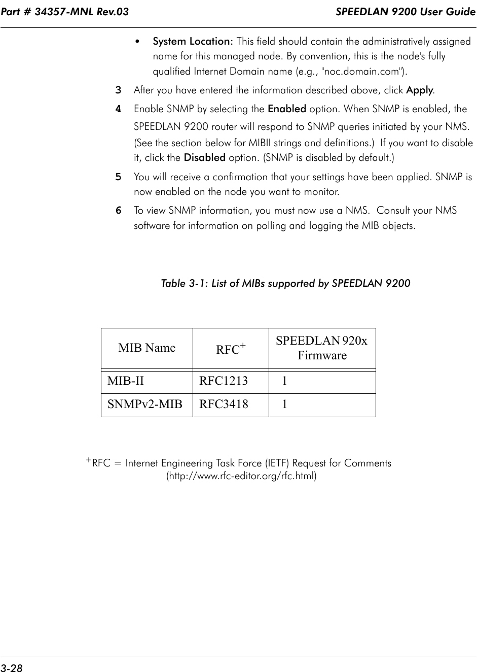 """Part # 34357-MNL Rev.03                                                                   SPEEDLAN 9200 User Guide 3-28•System Location: This field should contain the administratively assigned name for this managed node. By convention, this is the node's fully qualified Internet Domain name (e.g., """"noc.domain.com"""").3After you have entered the information described above, click Apply.4Enable SNMP by selecting the Enabled option. When SNMP is enabled, the SPEEDLAN 9200 router will respond to SNMP queries initiated by your NMS. (See the section below for MIBII strings and definitions.)  If you want to disable it, click the Disabled option. (SNMP is disabled by default.)5You will receive a confirmation that your settings have been applied. SNMP is now enabled on the node you want to monitor. 6To view SNMP information, you must now use a NMS.  Consult your NMS software for information on polling and logging the MIB objects.Table 3-1: List of MIBs supported by SPEEDLAN 9200+RFC = Internet Engineering Task Force (IETF) Request for Comments  (http://www.rfc-editor.org/rfc.html)MIB Name RFC+SPEEDLAN 920x FirmwareMIB-II RFC1213   1SNMPv2-MIB RFC3418   1"""