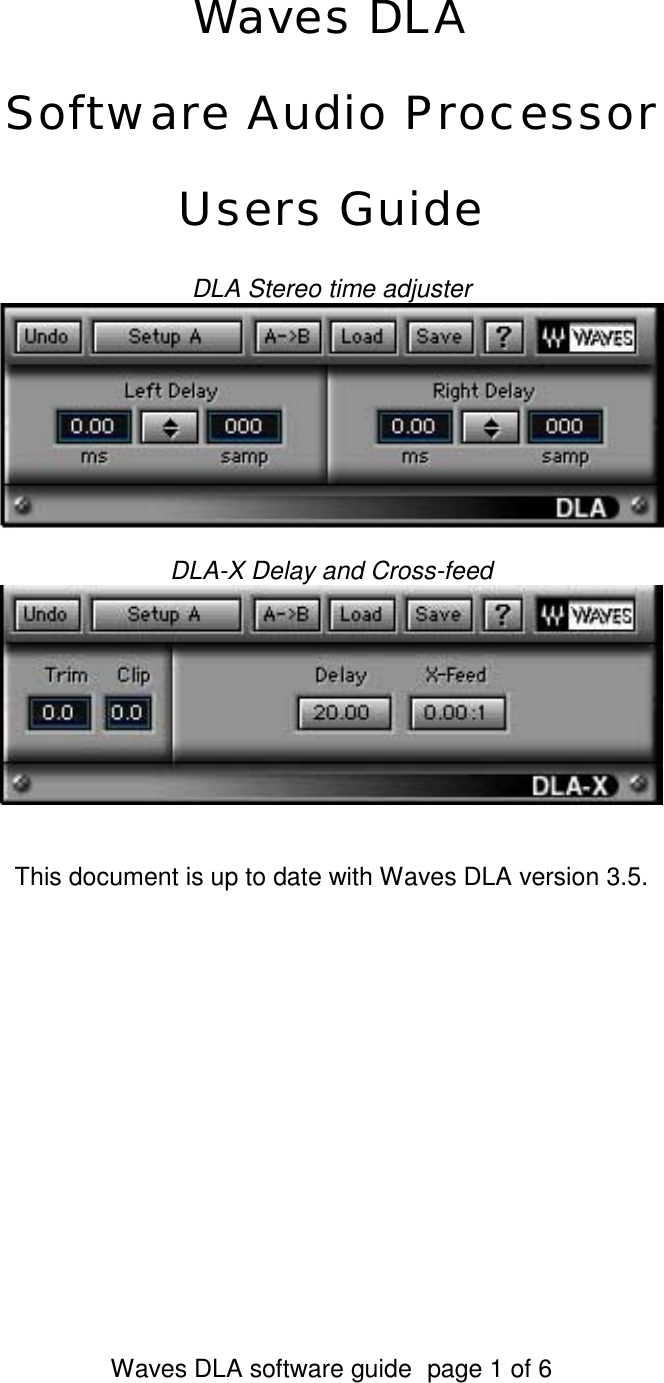 Waves Software Audio Processor Dla Users Manual Flanger