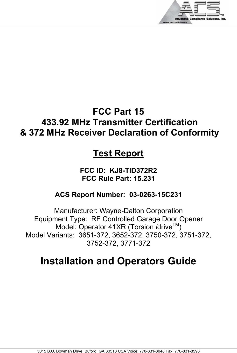 Wayne Dalton Tid372r2 Garage Door Opener W Rf Light Kit User Manual