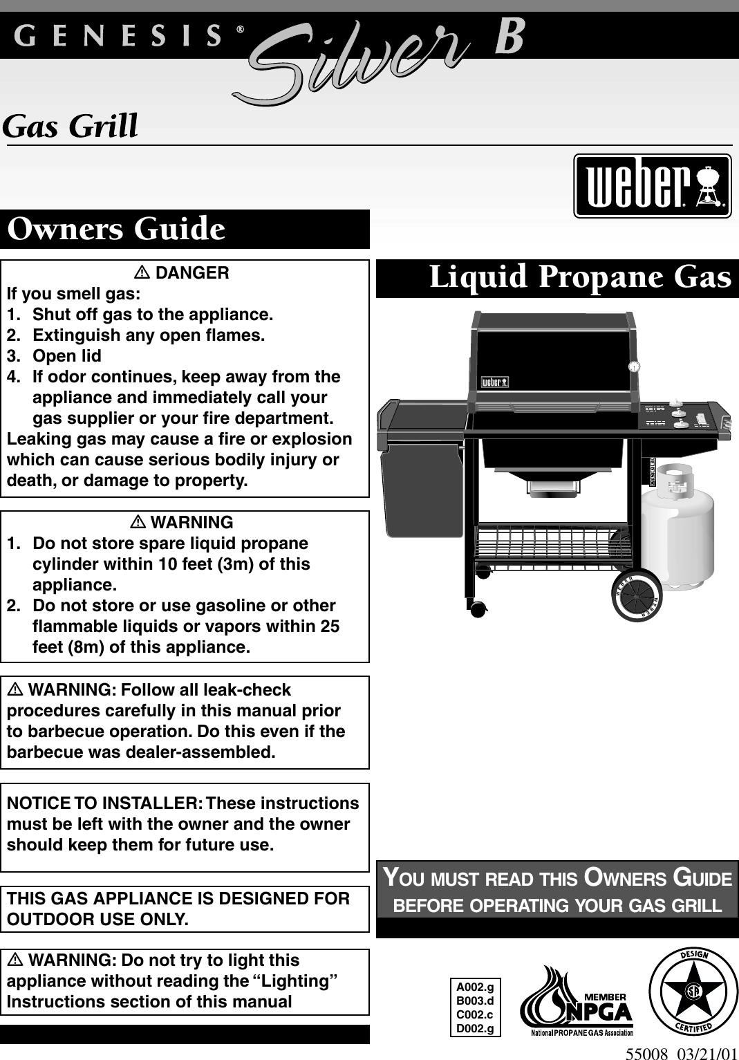 Weber 55008 Owners Manual Genesis Silver B Lp Guide 03 21 2001 Pdf File