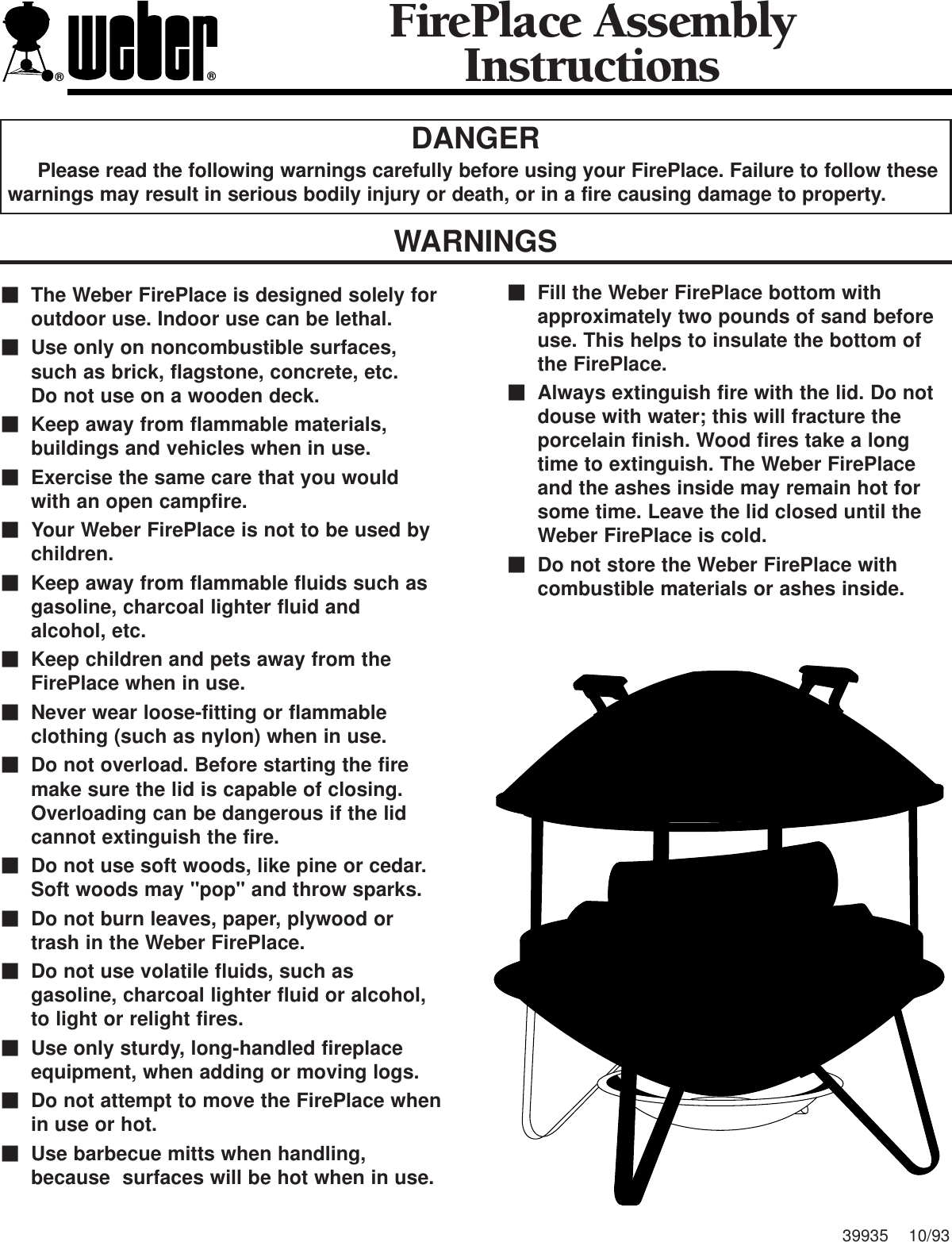 Weber Indoor Fireplace Users Manual Assembly Instructions