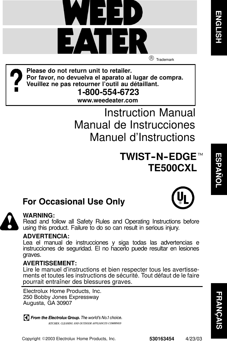 Weed Eater 530163454 Instruction Manual OM, TE500CXL, 2003