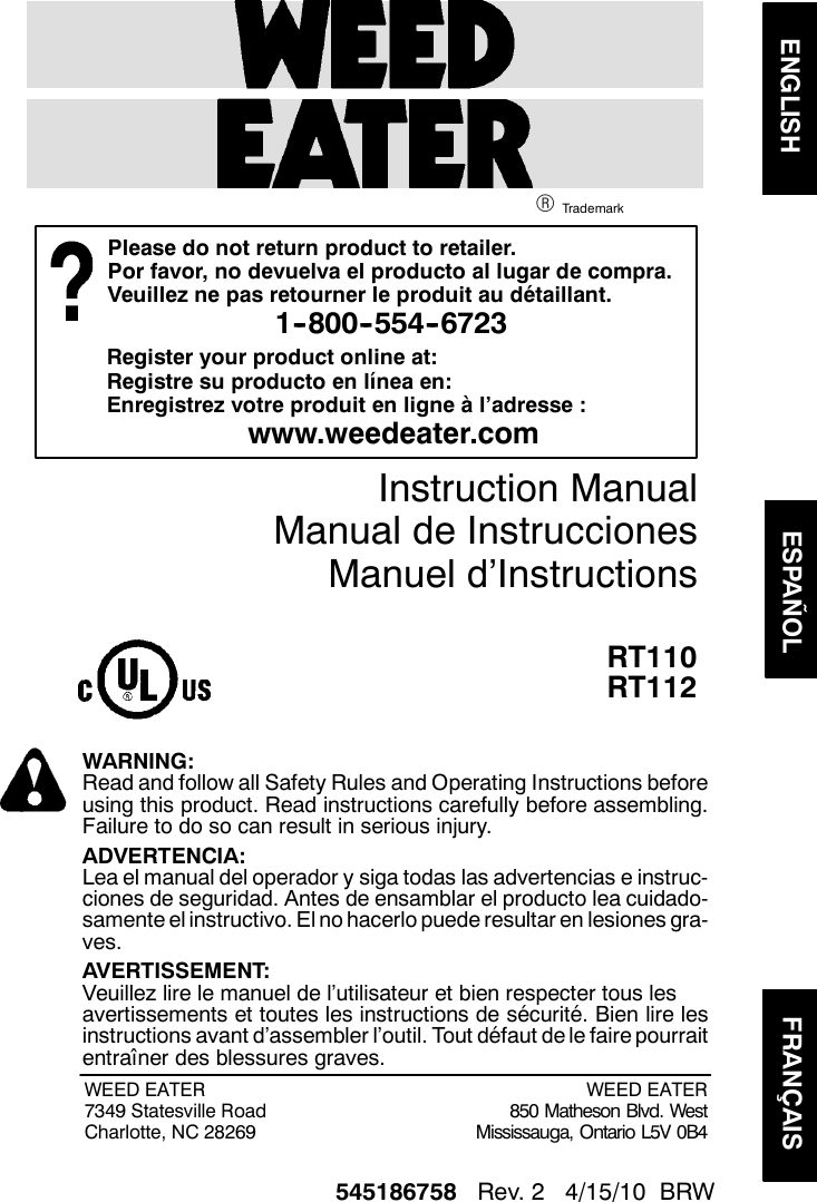 Weed Eater 545186758 Instruction Manual Om  Rt110  Rt112