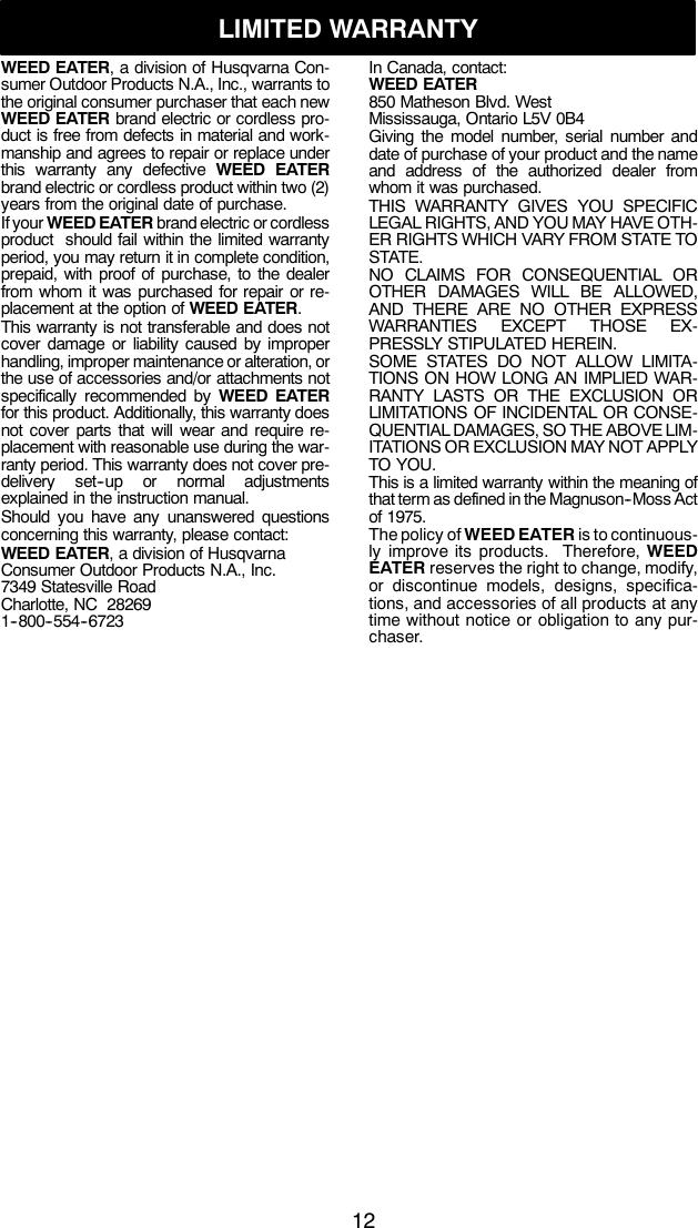 Weed Eater 952711894 Instruction Manual OM, MINI TRIM AUTO, 2010 ...