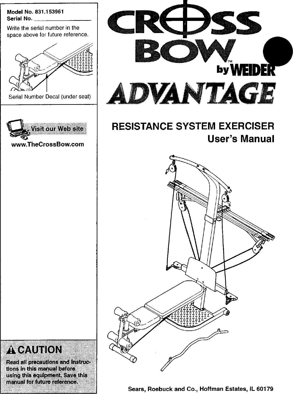 Weider 831153960 user manual crossbow advantage manuals and guides.