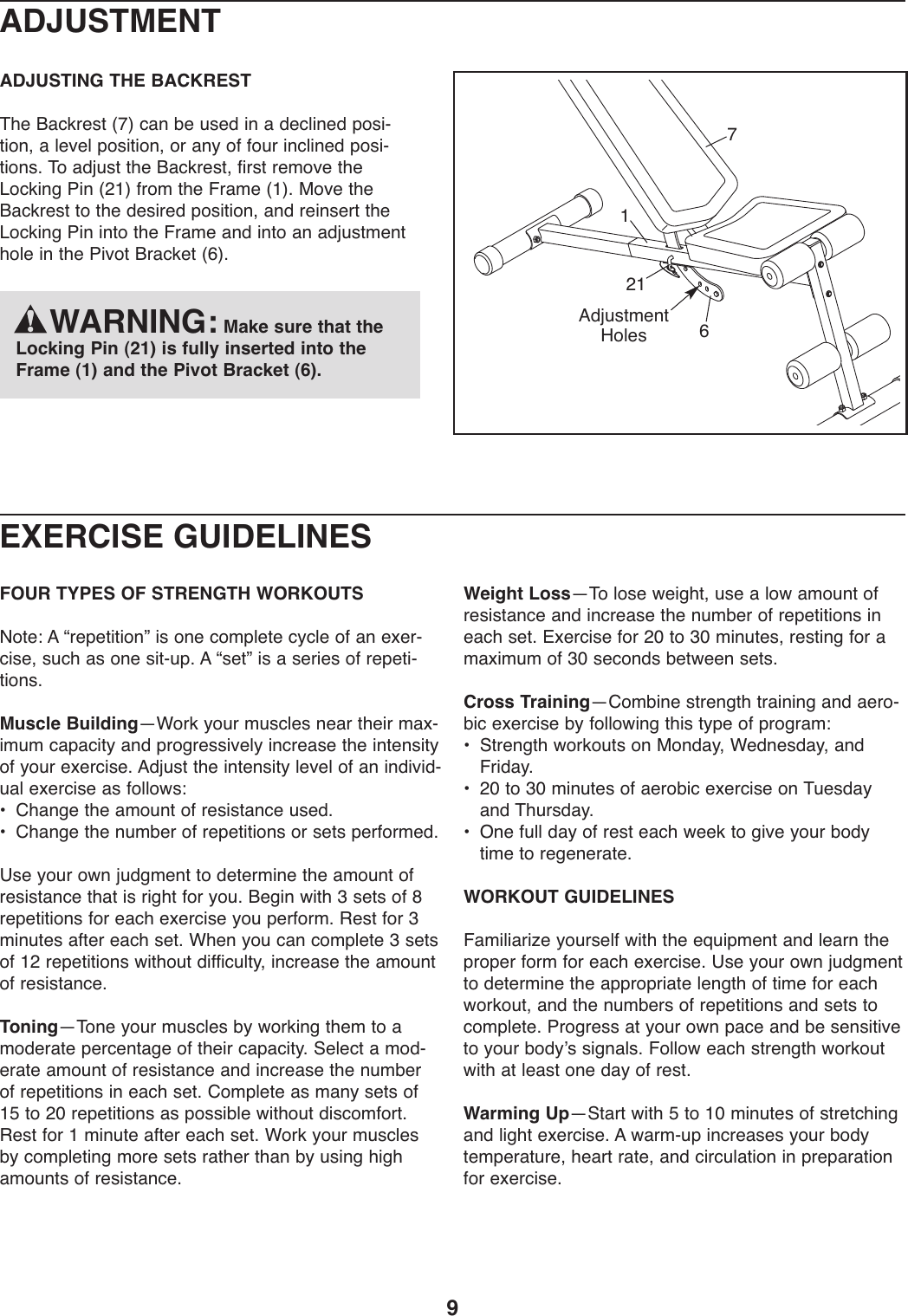 Weider Pro 230 Bench 30279 Users Manual