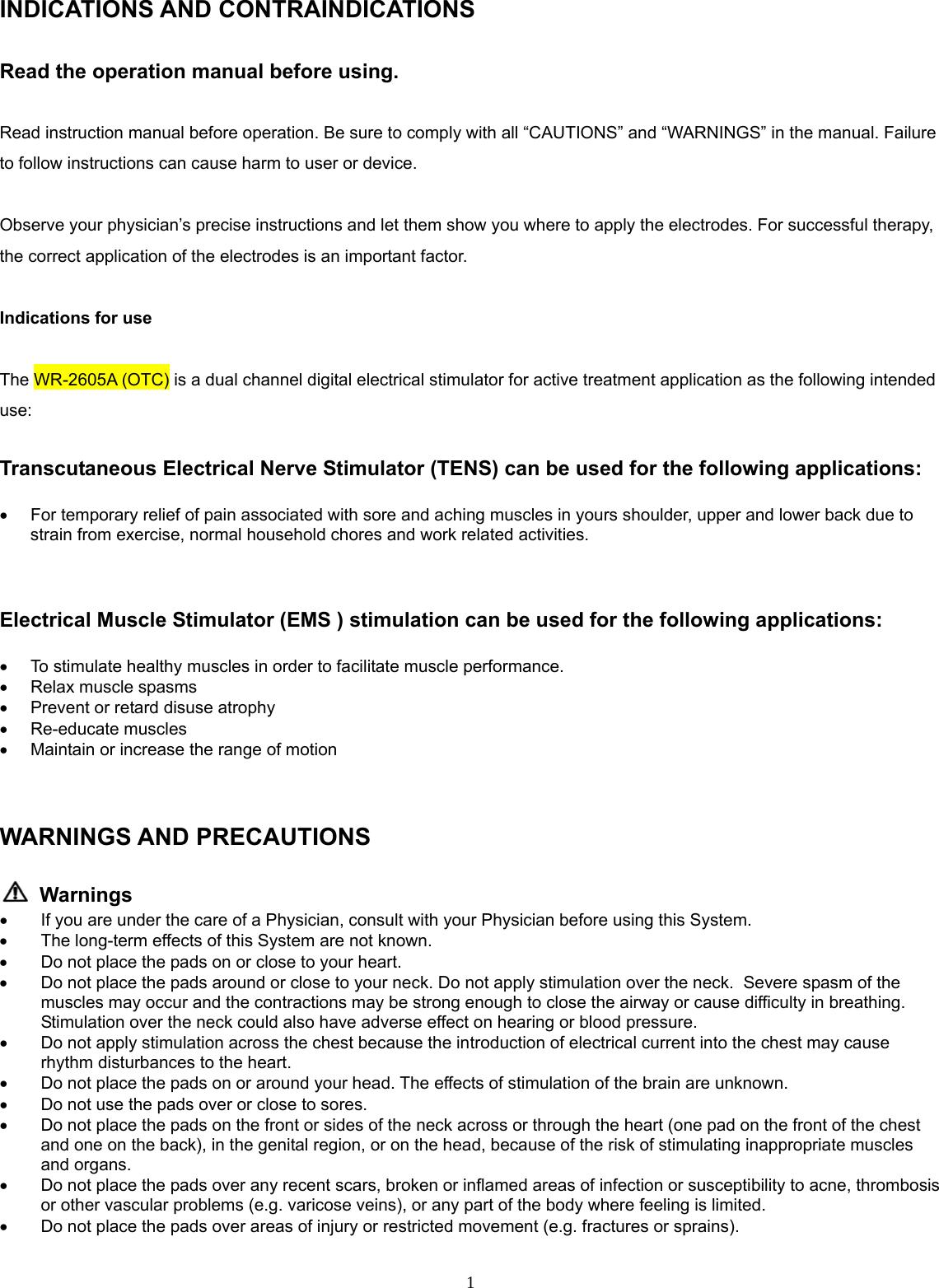 Electrical Xft Electrical Stimulator Manual Guide