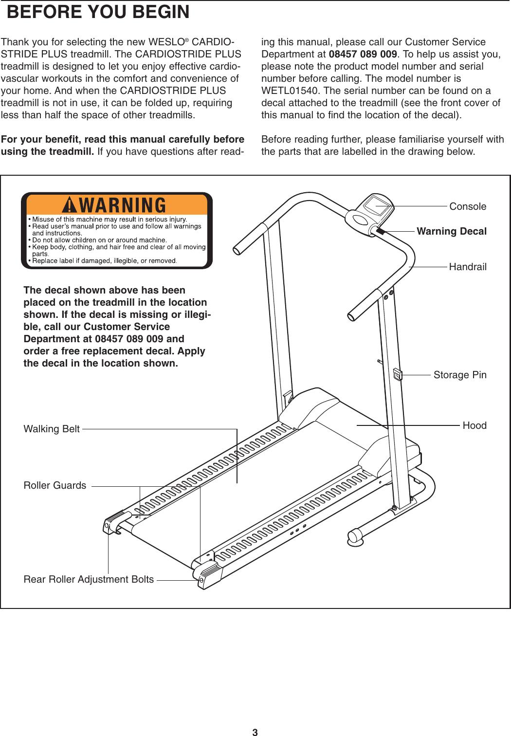 Weslo Treadmill Wetl01540 Users Manual