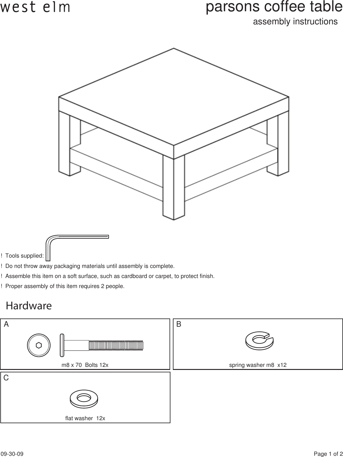West Elm Parsons Coffee Table 9 30 09