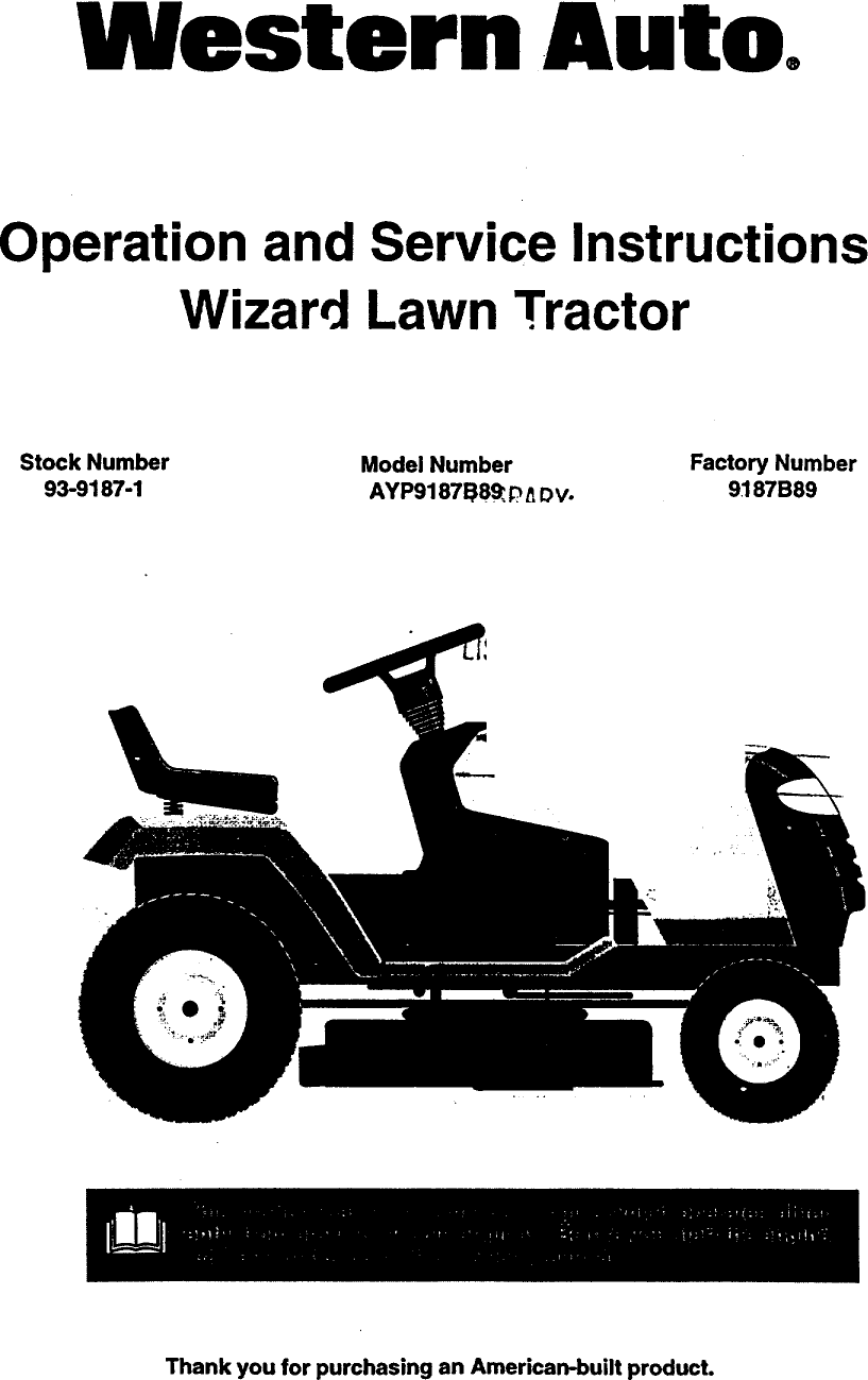 Western Auto Ayp9187b89 User Manual Wizard Lawn Tractor Manuals And Ayp Wiring Harness Guides 98080197