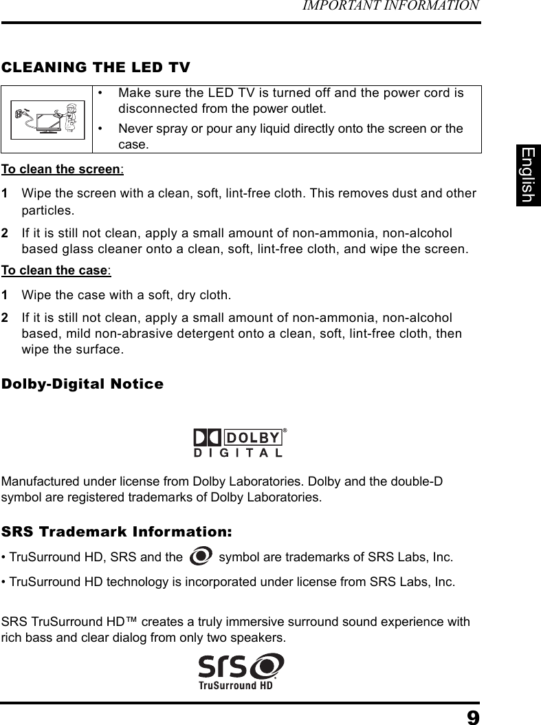 Westinghouse Digital Television Ld 3237 Users Manual 26L SIS