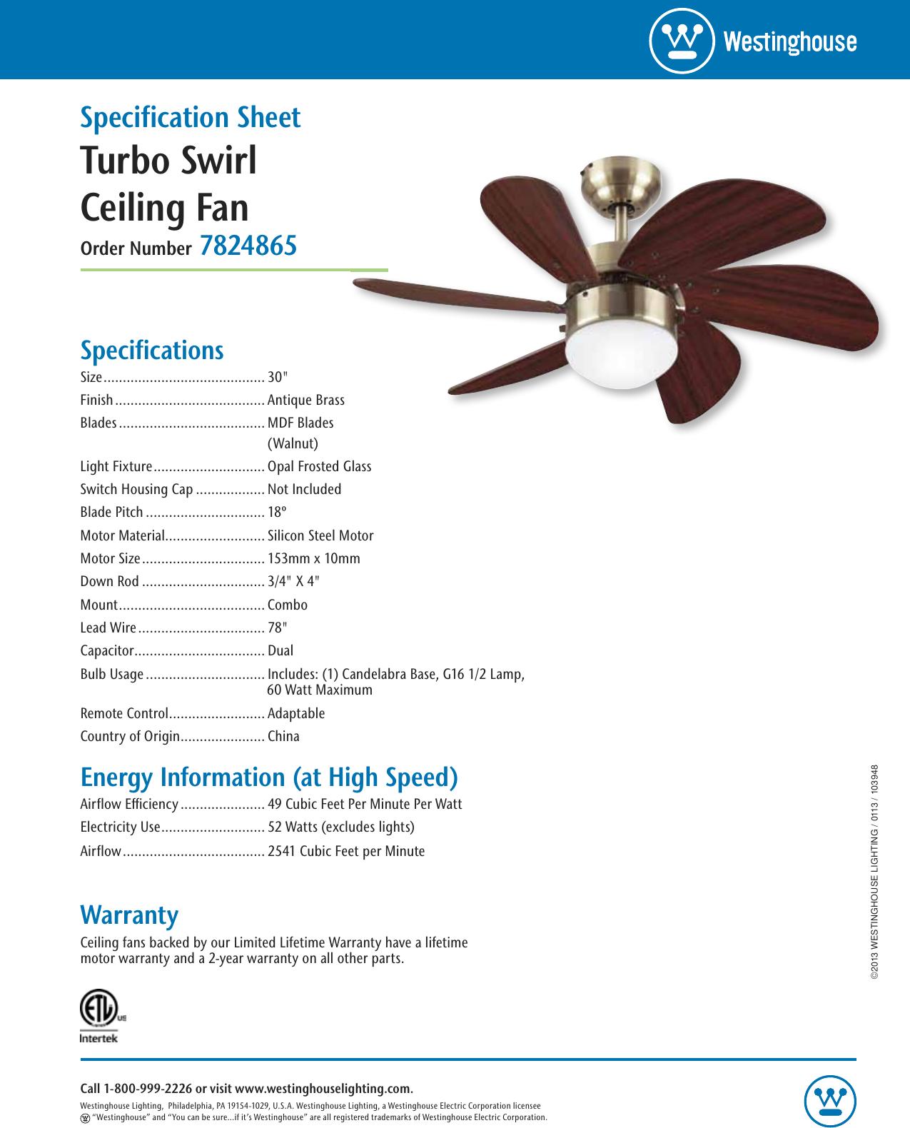 Westinghouse Turbo Swirl 30 Inch Six