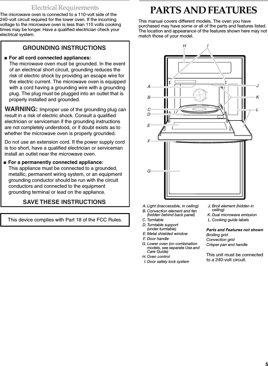 Whirlpool Europe S R L Dedicmwe00 Built In Microwave Oven User Manual V Circuit 5electrical Requirementsthe Is Connected To A 110 Volt Side Of The 240