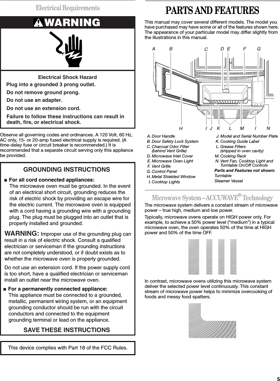 Whirlpool Microwave Development Gh5176 Oven User Manual Circuit 5electrical Requirementsobserve All Governing Codes And Ordinances A 120 Volt 60 Hz Ac