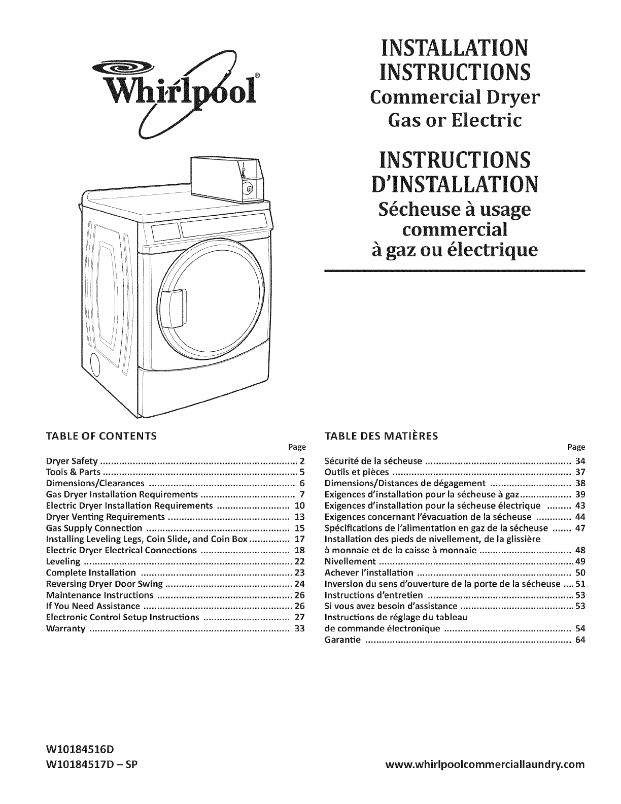 Whirlpool CED9050AW0 User Manual COMMERCIAL ELECTRIC DRYER Manuals