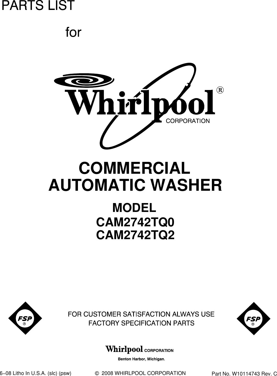 Whirlpool Cam2742tq0 Users Manual 661600 Wiring Schematic