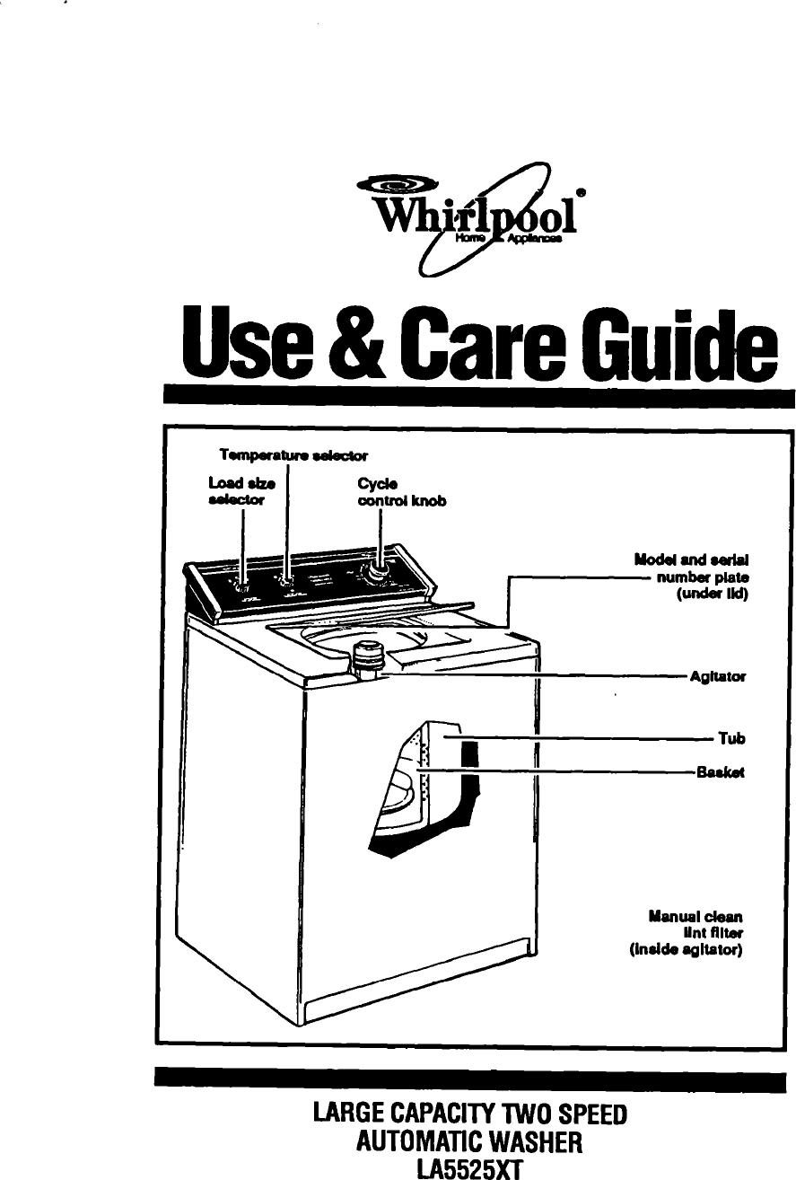 Whirlpool La5525Xt Users Manual