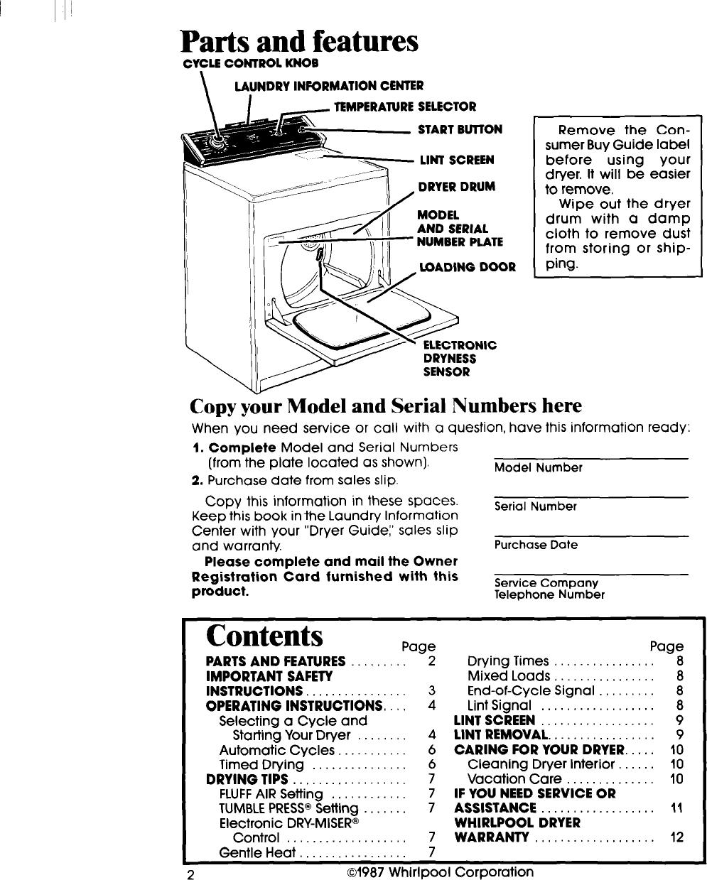 Whirlpool Le7080Xs Users Manual