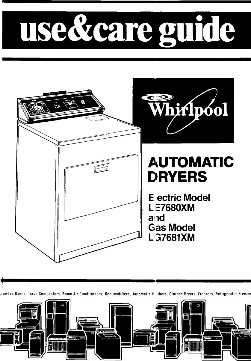 Whirlpool Le7680Xm Users Manual