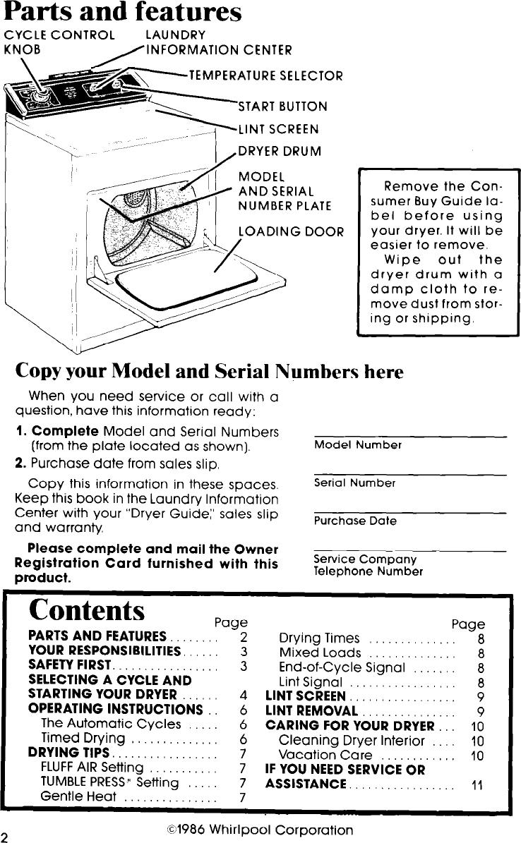 Whirlpool Le7685Xp Users Manual