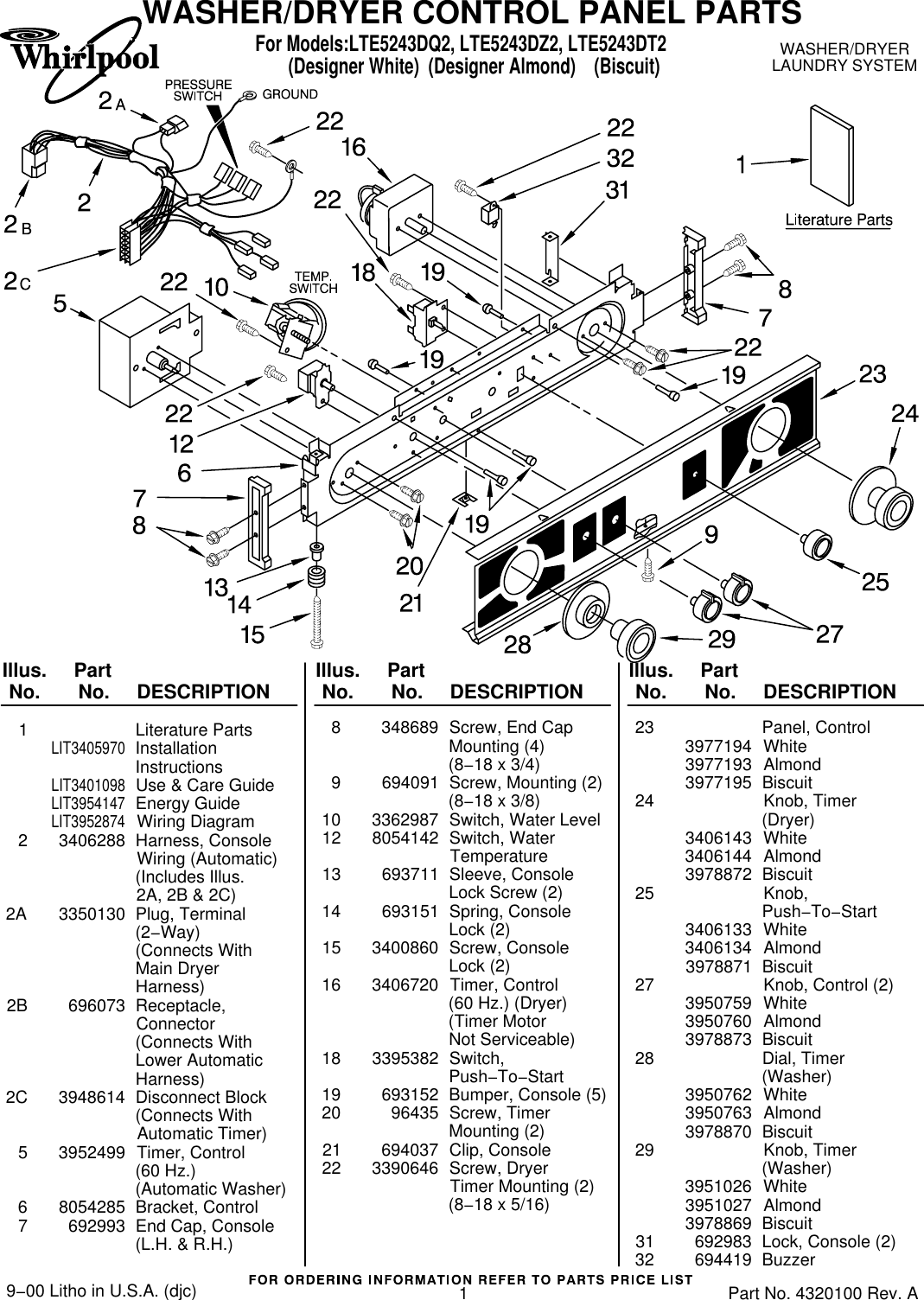 Whirlpool Lte5243dq2 Users Manual 661600 Wiring Schematic