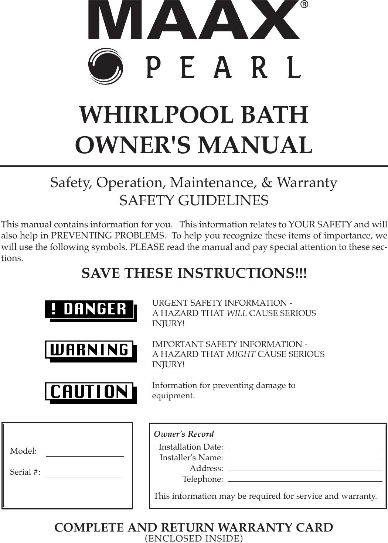 Whirlpool Maax Pearl Hot Tub Owners Manual ManualsLib Makes It Easy ...