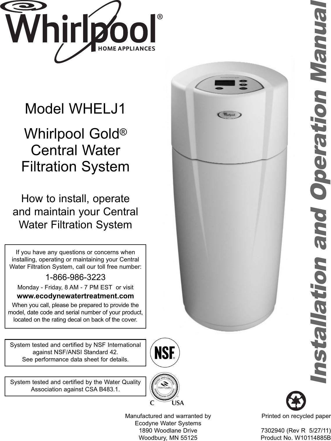 Whirlpool Whelj1 Owners Manual