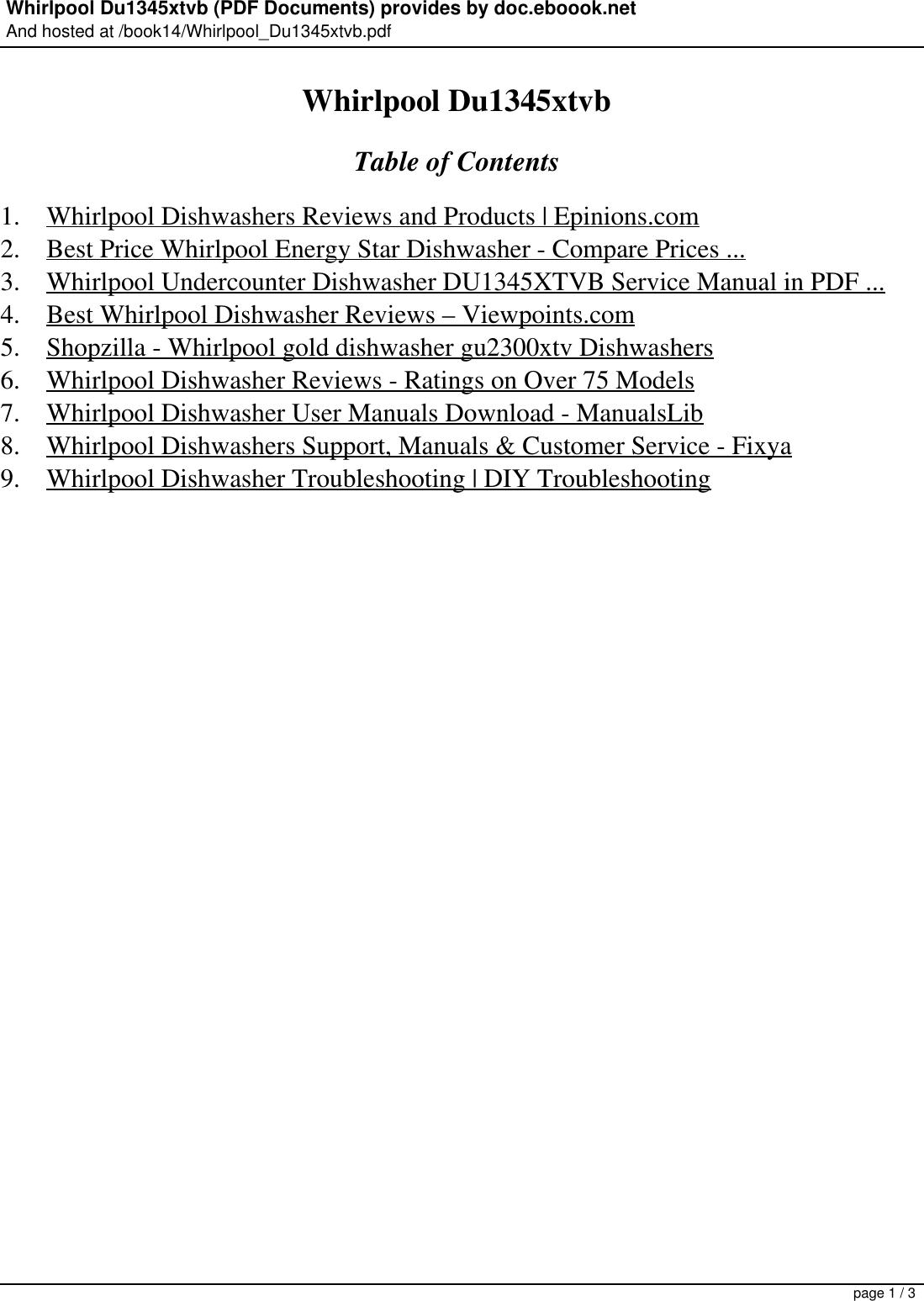 Whirlpool Dishwasher Du1345Xtvb Users Manual