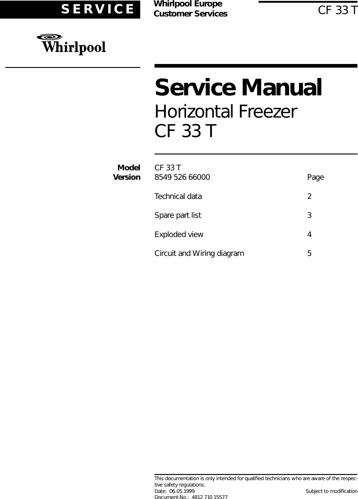 Whirlpool Freezer 33 Users Manual Wiring Diagram