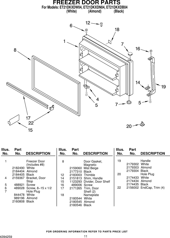 Whirlpool Refrigerator Et21Dkxdb04 Users Manual