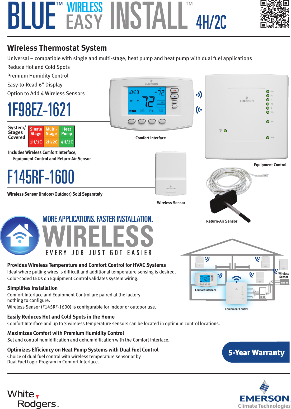 Page 1 of 2 - White-Rodgers White-Rodgers-1F98Ez-1621-Emerson-Blue-Wireless-Easy-Install-Thermostat-System-Specification-Sheet- 136839_WirelessEasyInstall_SS_Rev_Crp  White-rodgers-1f98ez-1621-emerson-blue-wireless-easy-install-thermostat-system-specification-sheet