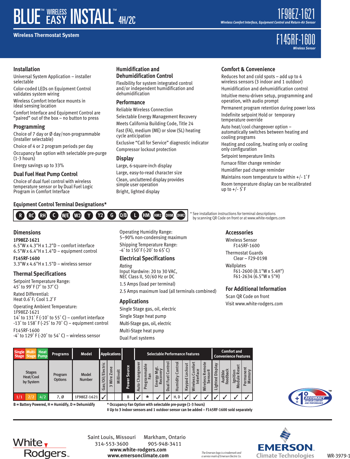 Page 2 of 2 - White-Rodgers White-Rodgers-1F98Ez-1621-Emerson-Blue-Wireless-Easy-Install-Thermostat-System-Specification-Sheet- 136839_WirelessEasyInstall_SS_Rev_Crp  White-rodgers-1f98ez-1621-emerson-blue-wireless-easy-install-thermostat-system-specification-sheet